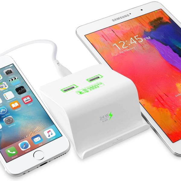 Base di ricarica Dual USB per smartphone, phablet e tablet | Puro Bianco