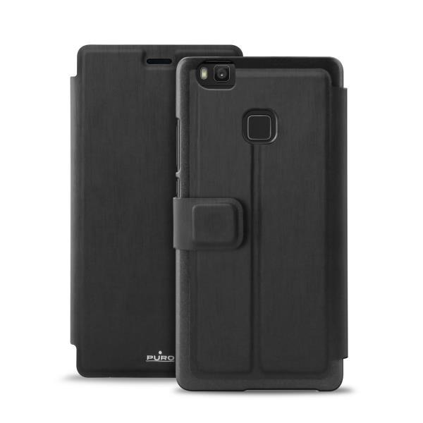 Custodia Booklet Nera per Huawei P9 Lite-0