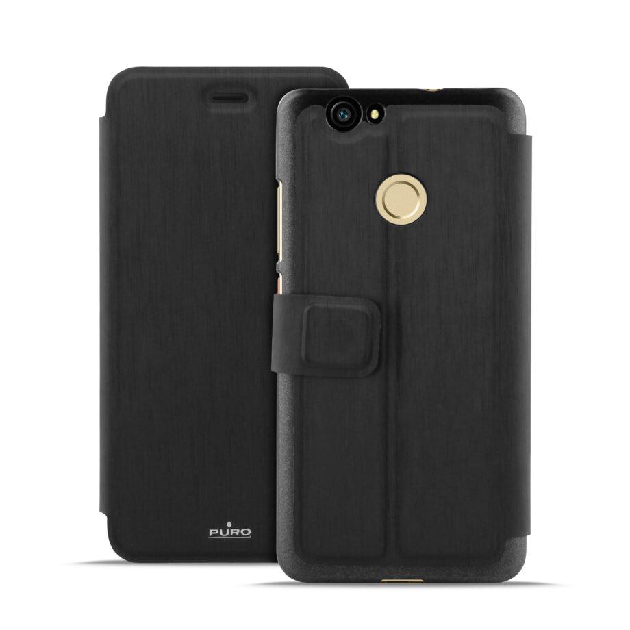 Custodia Wallet Nera per Huawei Nova   Puro Nero