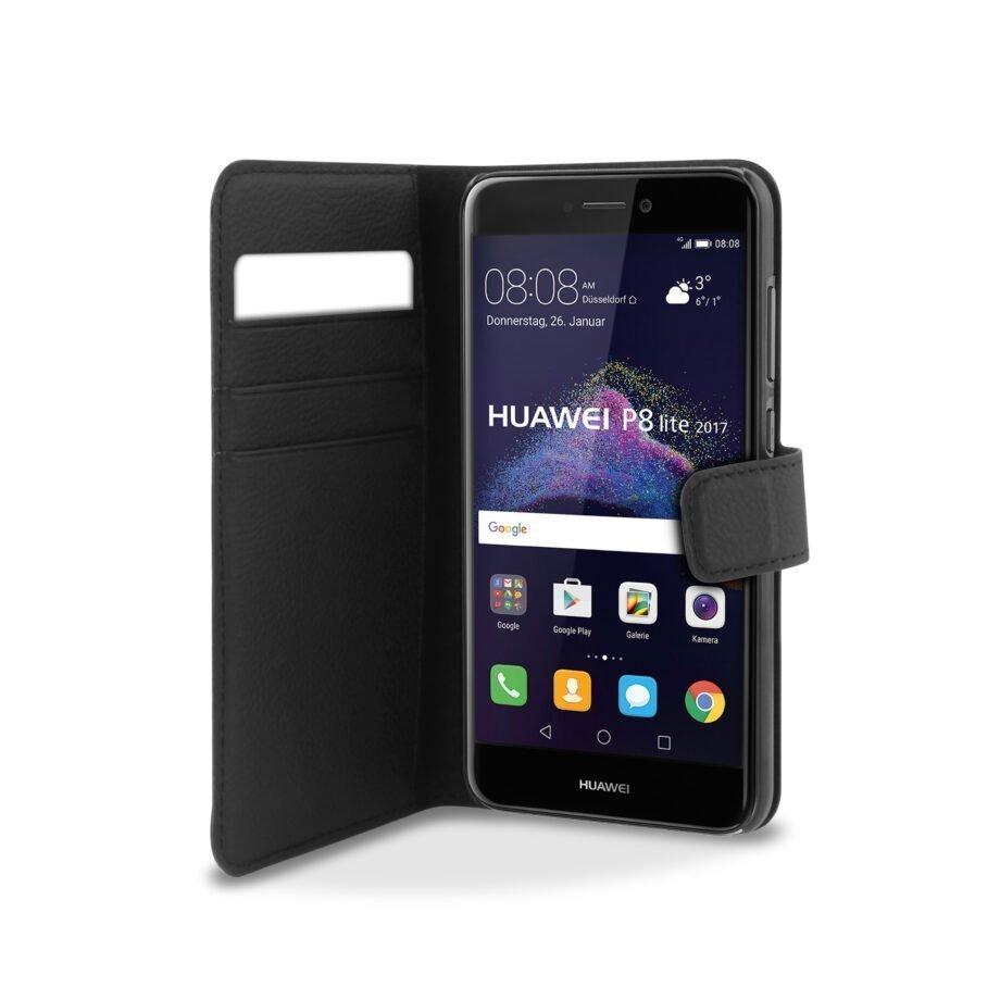 Custodia Wallet in Eco-Pelle per Huawei P8 Lite 2017   PuroNero