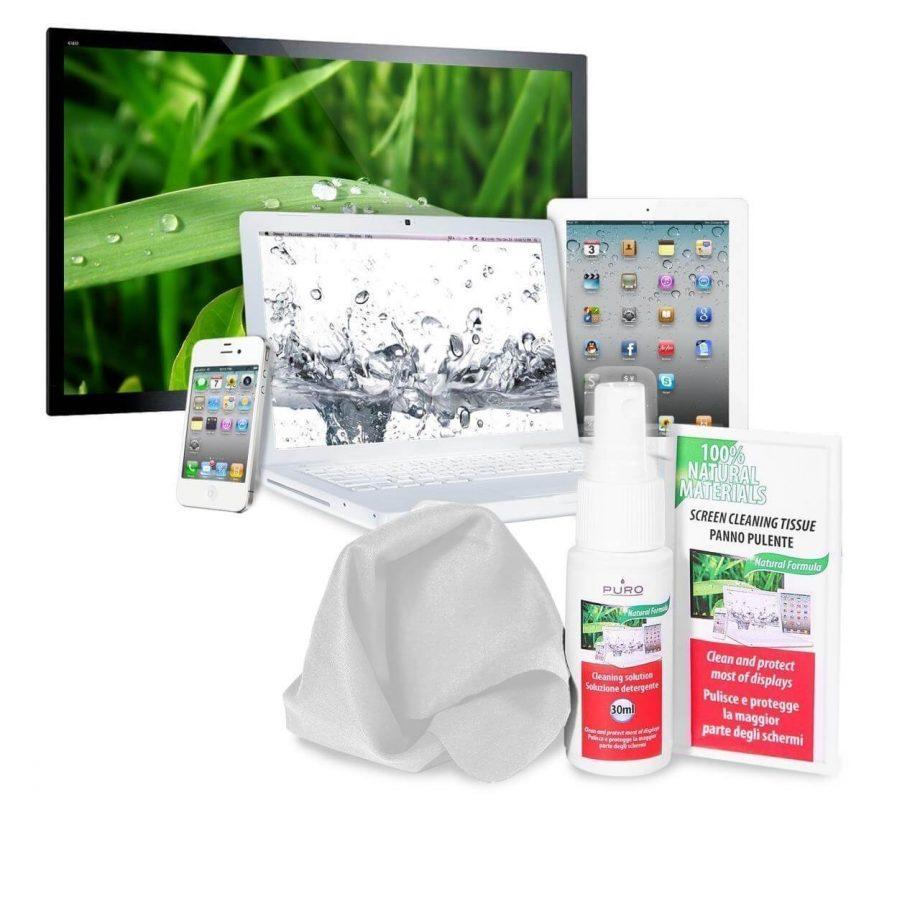 Kit per la pulizia dello schermo con 30ml di Spray, un panno in microfibra e 10 salviette umidificate | Puro