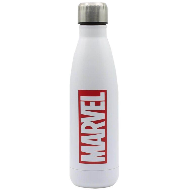 Borraccia Disney Marvel bianca con logo rosso
