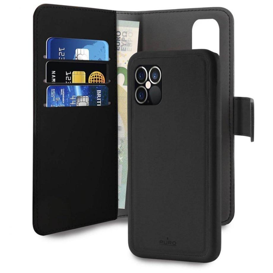 Custodia Wallet Detachable 2 in 1 per iPhone 12 Pro Max | PuroNero