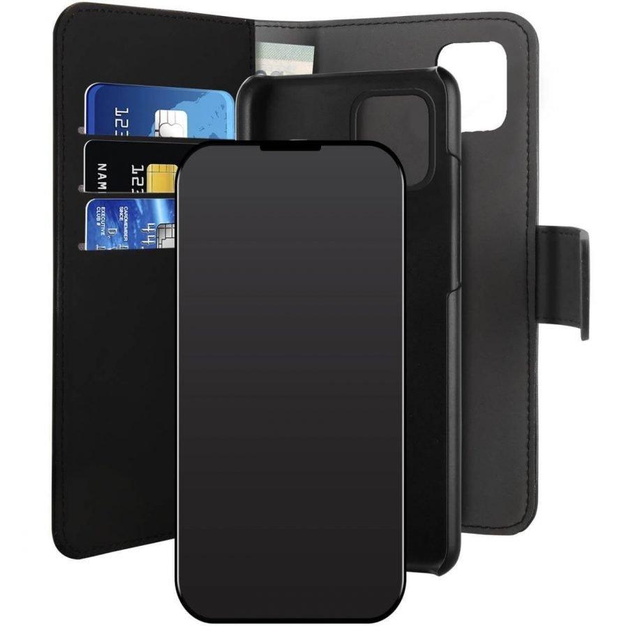 Custodia Wallet Detachable 2 in 1 per iPhone 12 Mini| PuroNero