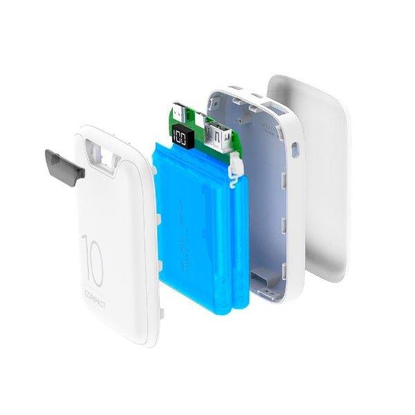 Power bank Compact 10.000mAh Fast Charge - USB-A, uSB-C e Micro USB