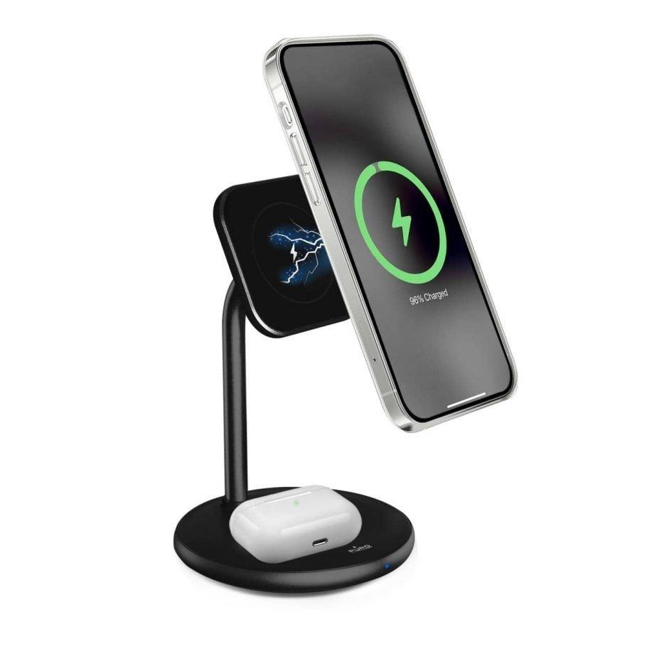 Stand da scrivania di Puro, compatibile con tecnologia MagSafe per la ricarica dell'iPhone serie 12 e iPhone serie 13